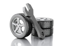 3d wheel car and wrench Stock Images