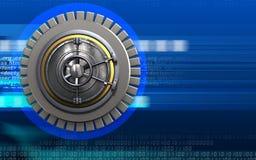 3d wheel door blank. 3d illustration of wheel door  over cyber background Stock Images