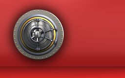 3d wheel door safe. 3d illustration of wheel door  over red background Stock Image