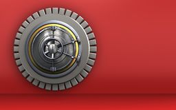 3d wheel door safe. 3d illustration of wheel door  over red background Royalty Free Stock Image