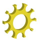 3d wheel gears yellow color Stock Photos