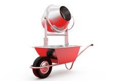 3d wheelborrow and cement grindr concept Stock Photo