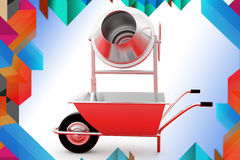 3d wheelborrow and cement grindr illustration Royalty Free Stock Image
