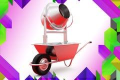 3d wheelborrow and cement grindr illustration Stock Photo