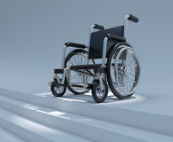 3d Wheelchair at top of stairs Royalty Free Stock Image