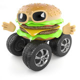3d Wheeled burger Stock Photography