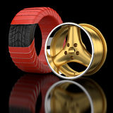 3d wheels and tire. Royalty Free Stock Photos
