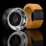 3d wheels and tire. Royalty Free Stock Image