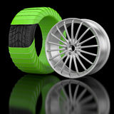 3d wheels and tire. Royalty Free Stock Images