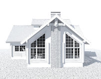 3D white architecture model house Stock Images