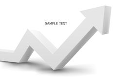 3d white arrow graph Stock Photos