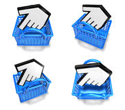 3d white arrow in shopping bag range four set . 3D Icon Design S Royalty Free Stock Photo