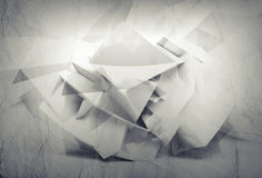 3d white background with chaotic paper surface Stock Photo