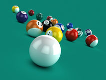 3d White ball breaks in game of pool Stock Images