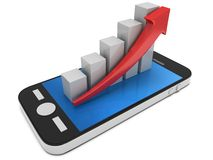 3d white bar graph with red arrow on smartphone. 3d white bar graph with red arrow growing up on smartphone. Mobile apps concept. 3D render isolated on white Stock Photography
