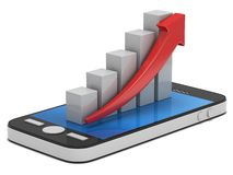 3d white bar graph with red arrow on smartphone. 3d white bar graph with red arrow growing up on smartphone. Mobile apps concept. 3D render isolated on white Royalty Free Stock Photo