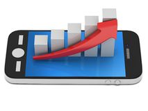 3d white bar graph with red arrow on smartphone. 3d white bar graph with red arrow growing up on smartphone. Mobile apps concept. 3D render isolated on white Royalty Free Stock Photos