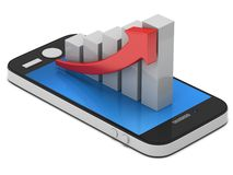 3d white bar graph with red arrow on smartphone. 3d white bar graph with red arrow growing up on smartphone. Mobile apps concept. 3D render isolated on white Stock Photos