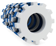 3d white and blue cogs mechanism. On white background Royalty Free Stock Photo