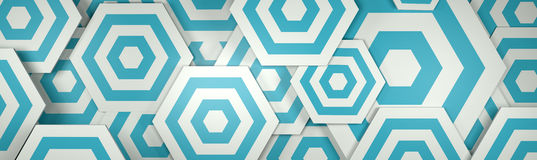 3D White and Blue Hexangon Background (Website Head) Royalty Free Stock Image