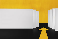 3D White Boards  With Yellow Arrow on Floor Stock Photo