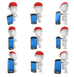 3d white business man with black cellphone. 3d white business man in santa claus cap stand with black cellphone. Celebration Xmas. 3D render christmas concept Royalty Free Stock Image