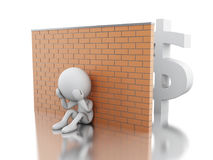 3d White business people crisis. 3d illustration. White business people crisis. Financial crisis concept. Isolated white background Royalty Free Stock Photos