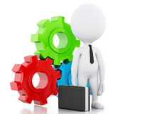 3d White business people and gear mechanism. 3d image. White business people and gear mechanism. Business concept.  white background Stock Images