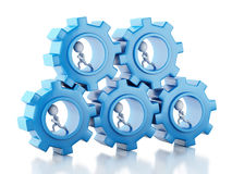 3d White business people with a gear mechanism. 3d image. White business people with a gear mechanism. Team concept.  white background Stock Photos