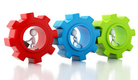 3d White business people with a gear mechanism Royalty Free Stock Images