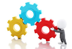 3d White business people pushes a red gear. 3d renderer image. White business people pushes a gear. Business concept. white background stock illustration