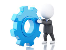 3d White business people pushes a red gear. 3d renderer image. White business people pushes a gear. Business concept.  white background Royalty Free Stock Images