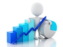 3d White business people with statistic graph. Royalty Free Stock Photos