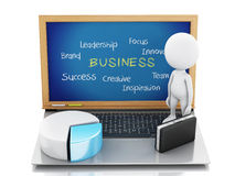 3d white business people with statistic graph and laptop. Royalty Free Stock Image