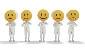 3d white cartoon men with emoticon symbols Stock Photo