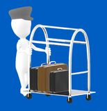 3d white character bellboy moving luggage cart with briefcase in it. Blue background- 3d rendering Royalty Free Stock Photography