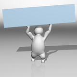 3D white character and a blue board Royalty Free Stock Image