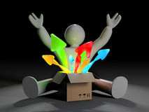 3d white character with box and coming out arrows Royalty Free Stock Photography