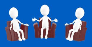 3d white character , character sitting in sofa chair and talking. Blue background- 3d rendering Stock Photography