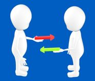 3d white character , characters holding red and green arrow on theirs hands , both of them standing opposite. Blue background- 3d rendering Royalty Free Stock Photos