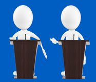 3d white character , characters in a podium. 3d white character , character in a podium -blue background- 3d rendering Royalty Free Stock Images