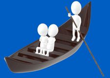 3d white character , couples on boat , while another characer rowing the boat stock illustration