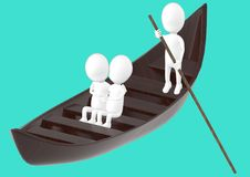 3d white character , couples on boat , while another characer rowing the boat royalty free illustration