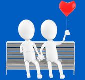 3d white character , couples sitting in a bench holding a love balloon stock illustration
