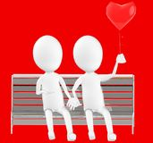 3d white character , couples sitting in a bench holding a love balloon. Red background- 3d rendering Royalty Free Stock Photography