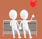 3d white character , couples sitting in a bench holding a love balloon. Brown background- 3d rendering Stock Image