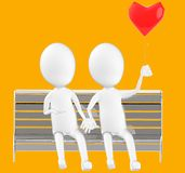 3d white character , couples sitting in a bench holding a love balloon. Orange background- 3d rendering Stock Images