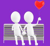 3d white character , couples sitting in a bench holding a love balloon. Purple background- 3d rendering Stock Image
