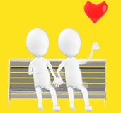3d white character , couples sitting in a bench holding a love balloon. Yellow background- 3d rendering Royalty Free Stock Photos