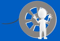 3d white character and a film reel. Blue background- 3d rendering stock illustration